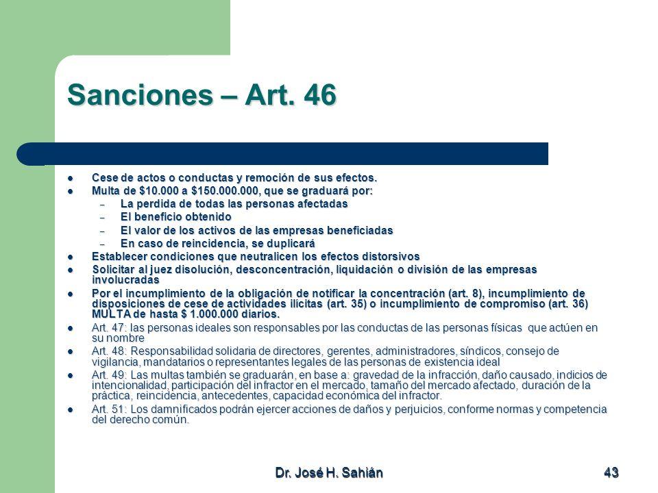 Sanciones – Art. 46 Dr. José H. Sahián