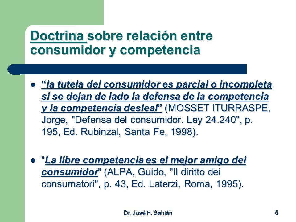 Doctrina sobre relación entre consumidor y competencia