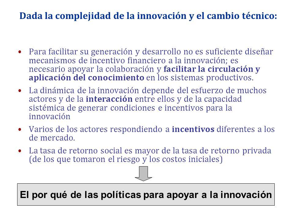 Dada la complejidad de la innovación y el cambio técnico: