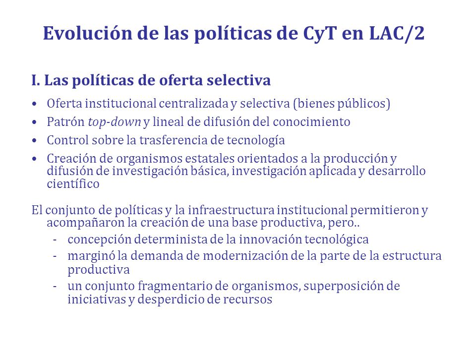 Evolución de las políticas de CyT en LAC/2