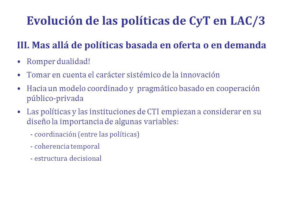 Evolución de las políticas de CyT en LAC/3