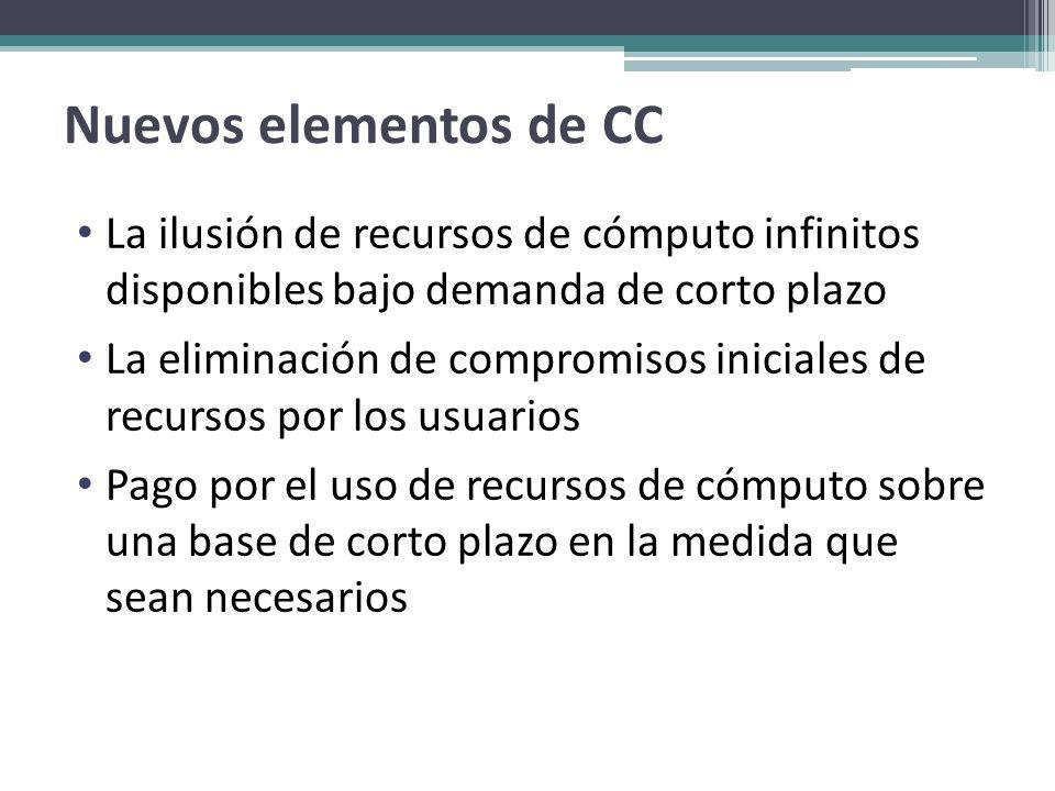 Nuevos elementos de CC La ilusión de recursos de cómputo infinitos disponibles bajo demanda de corto plazo.