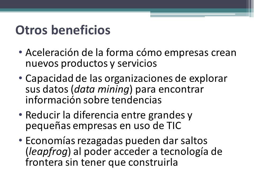 Otros beneficios Aceleración de la forma cómo empresas crean nuevos productos y servicios.