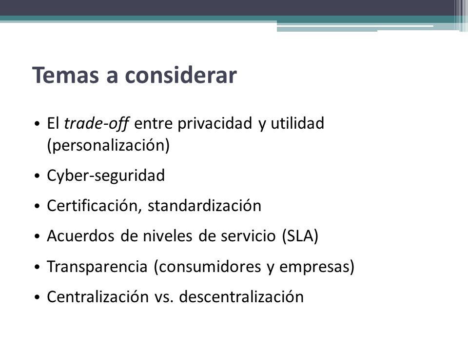Temas a considerar El trade-off entre privacidad y utilidad (personalización) Cyber-seguridad. Certificación, standardización.