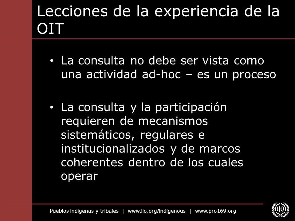 Lecciones de la experiencia de la OIT