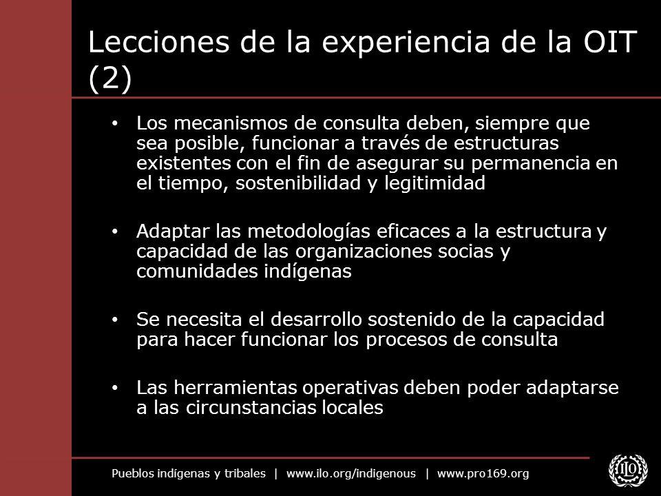 Lecciones de la experiencia de la OIT (2)