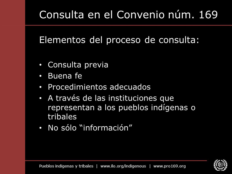 Consulta en el Convenio núm. 169