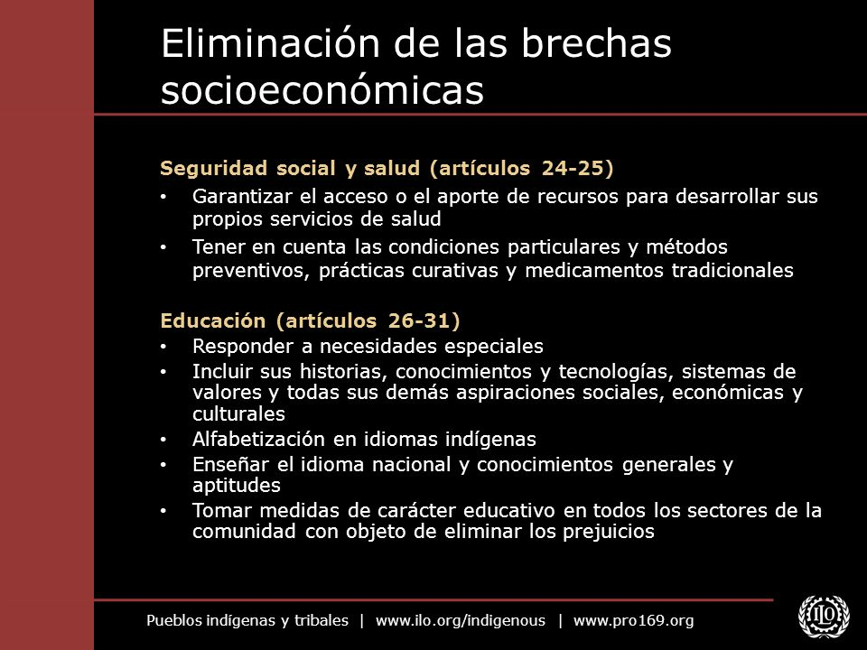Eliminación de las brechas socioeconómicas