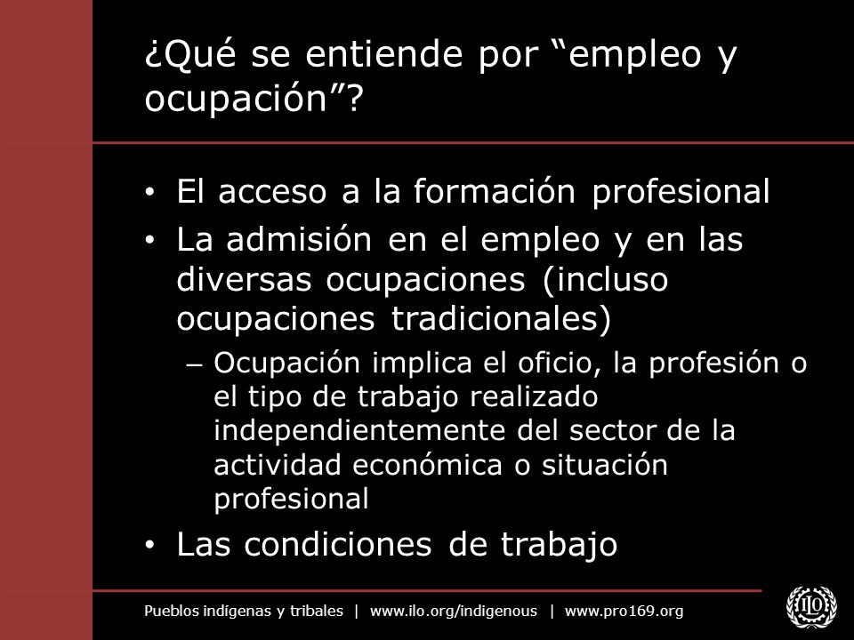 ¿Qué se entiende por empleo y ocupación