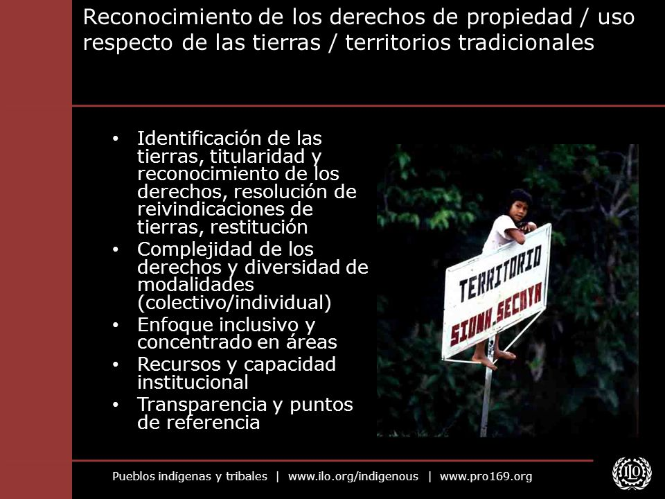 Reconocimiento de los derechos de propiedad / uso respecto de las tierras / territorios tradicionales