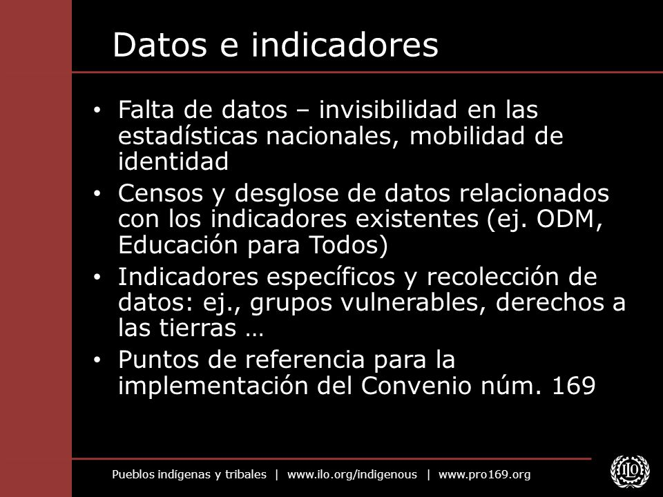 Datos e indicadoresFalta de datos – invisibilidad en las estadísticas nacionales, mobilidad de identidad.