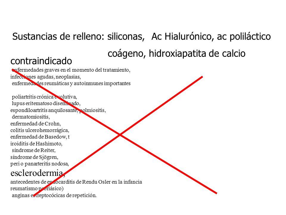 Sustancias de relleno: siliconas, Ac Hialurónico, ac poliláctico