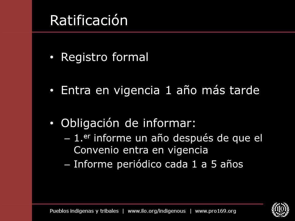 Ratificación Registro formal Entra en vigencia 1 año más tarde