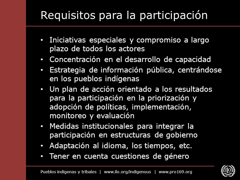 Requisitos para la participación