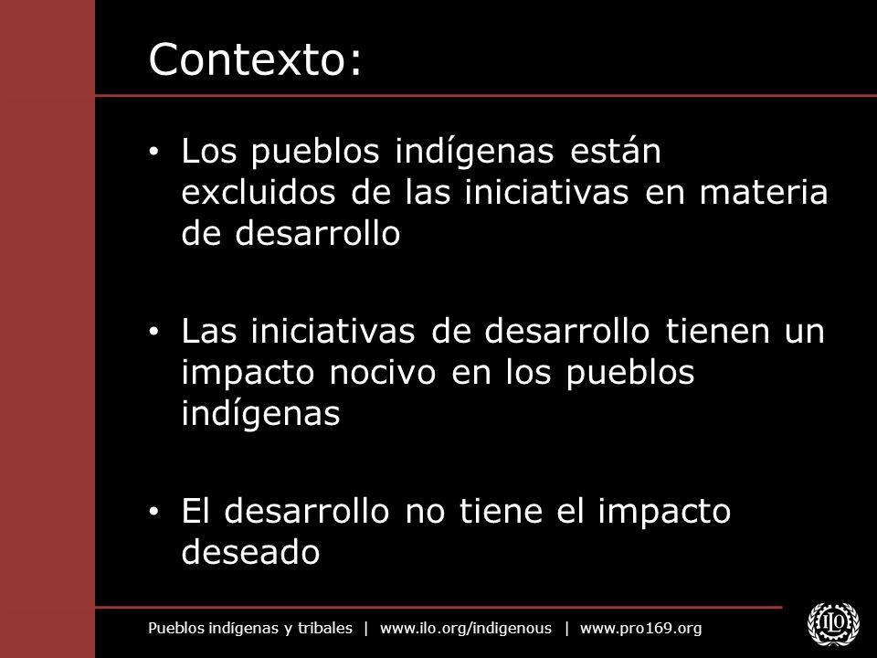 Contexto: Los pueblos indígenas están excluidos de las iniciativas en materia de desarrollo.