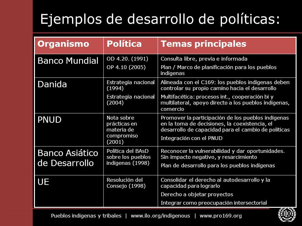 Ejemplos de desarrollo de políticas: