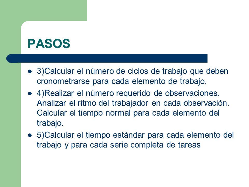 PASOS 3)Calcular el número de ciclos de trabajo que deben cronometrarse para cada elemento de trabajo.