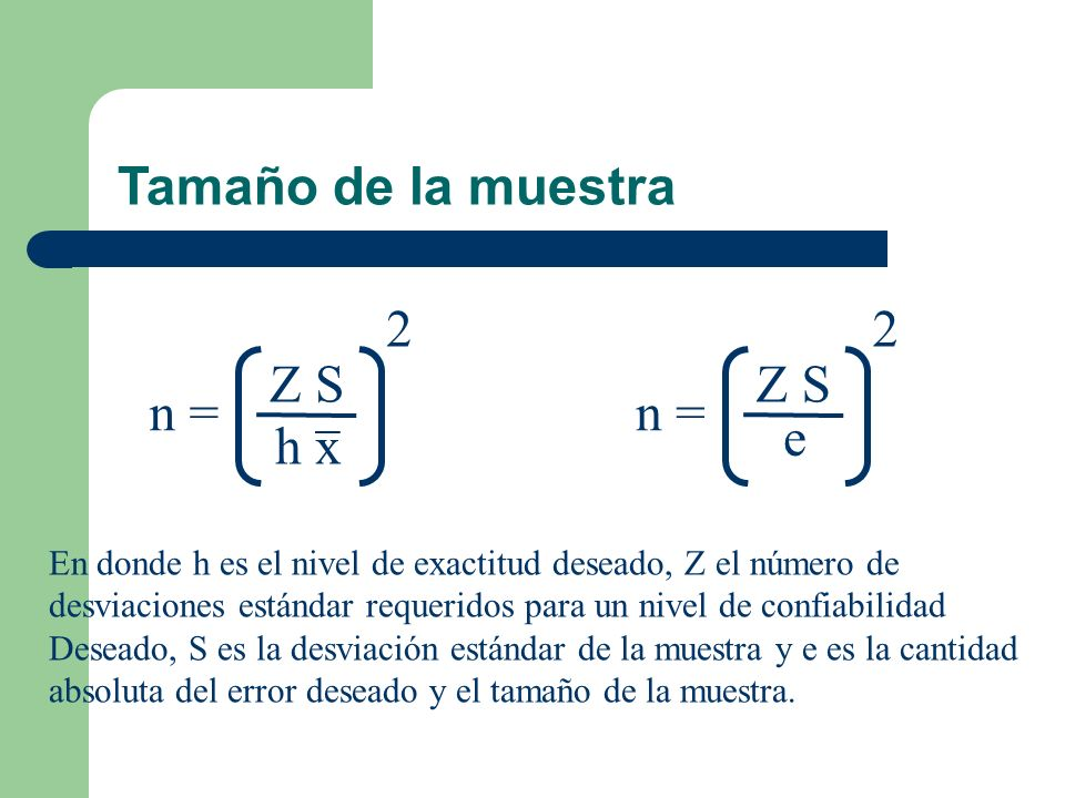 Tamaño de la muestra 2 2 Z S Z S n = n = e h x