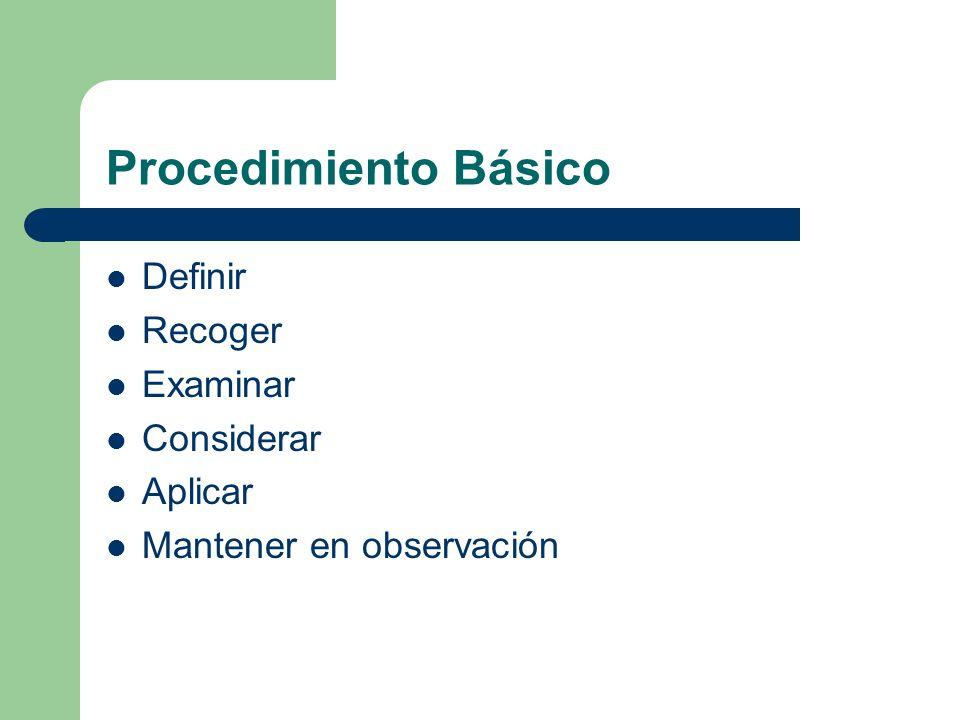 Procedimiento Básico Definir Recoger Examinar Considerar Aplicar