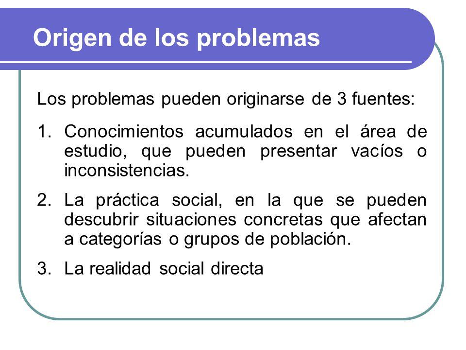 Origen de los problemas