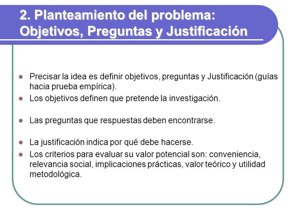 2. Planteamiento del problema: Objetivos, Preguntas y Justificación