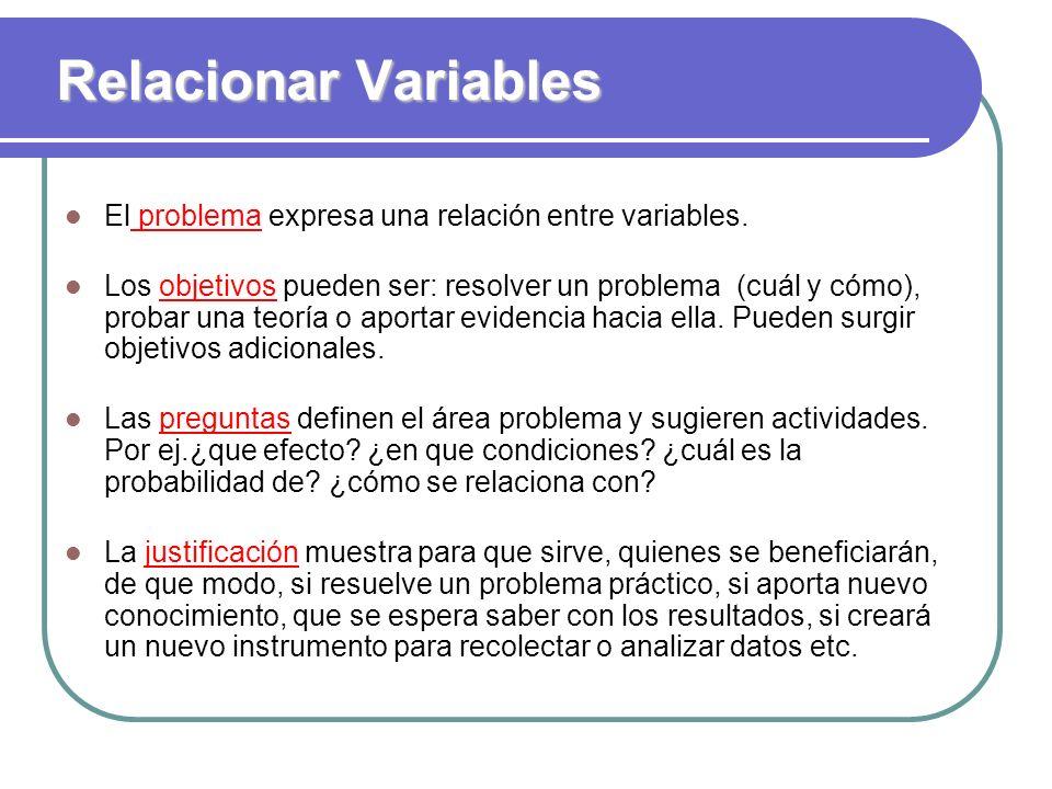 Relacionar Variables El problema expresa una relación entre variables.