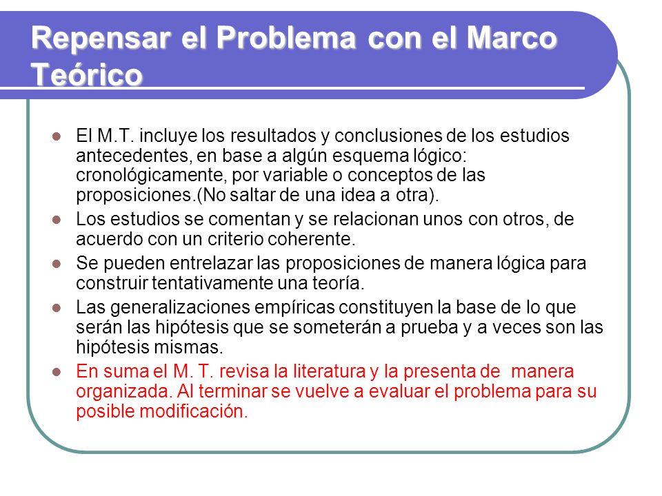 Repensar el Problema con el Marco Teórico
