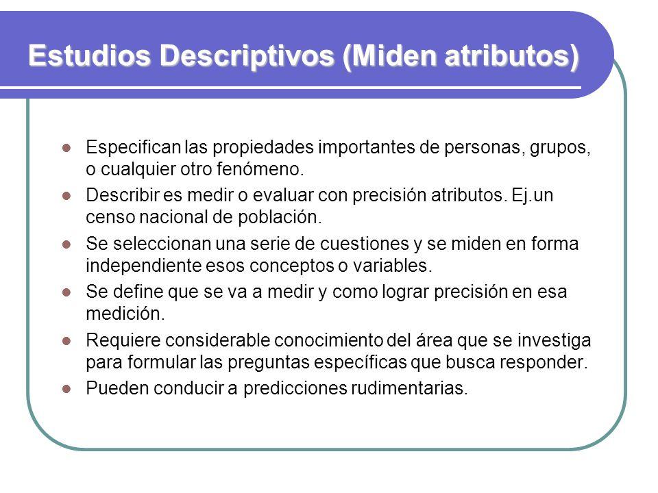 Estudios Descriptivos (Miden atributos)