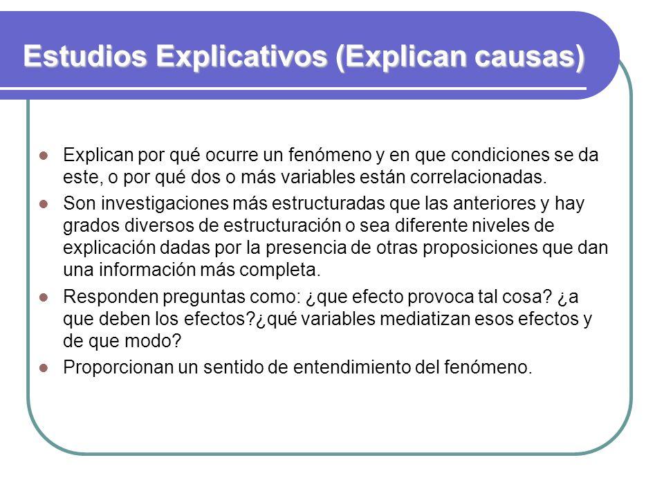 Estudios Explicativos (Explican causas)