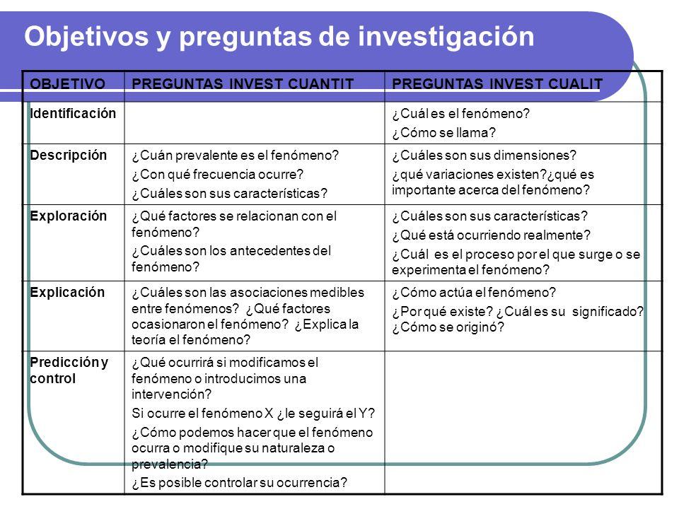 Objetivos y preguntas de investigación