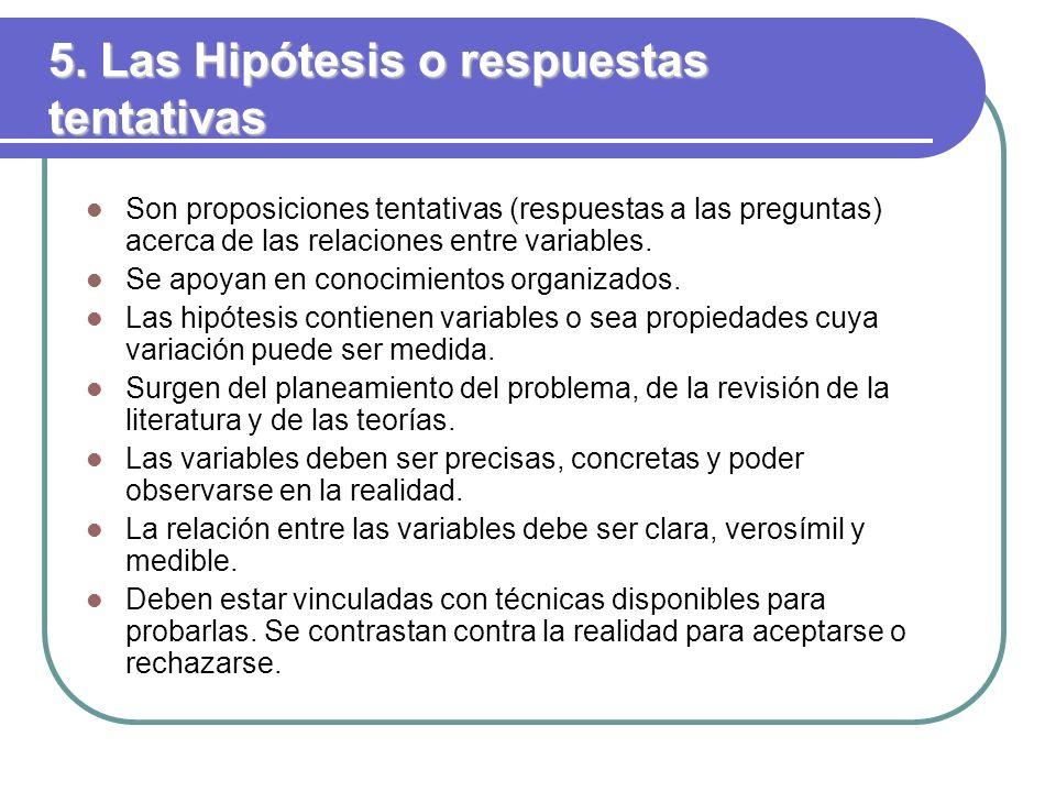 5. Las Hipótesis o respuestas tentativas