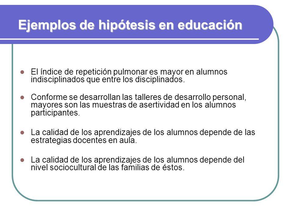 Ejemplos de hipótesis en educación