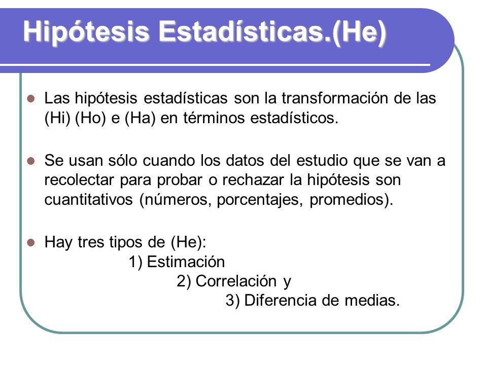 Hipótesis Estadísticas.(He)