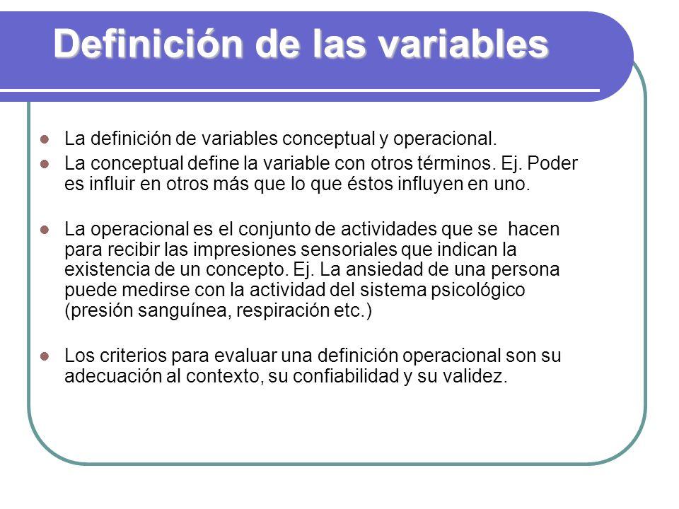 Definición de las variables
