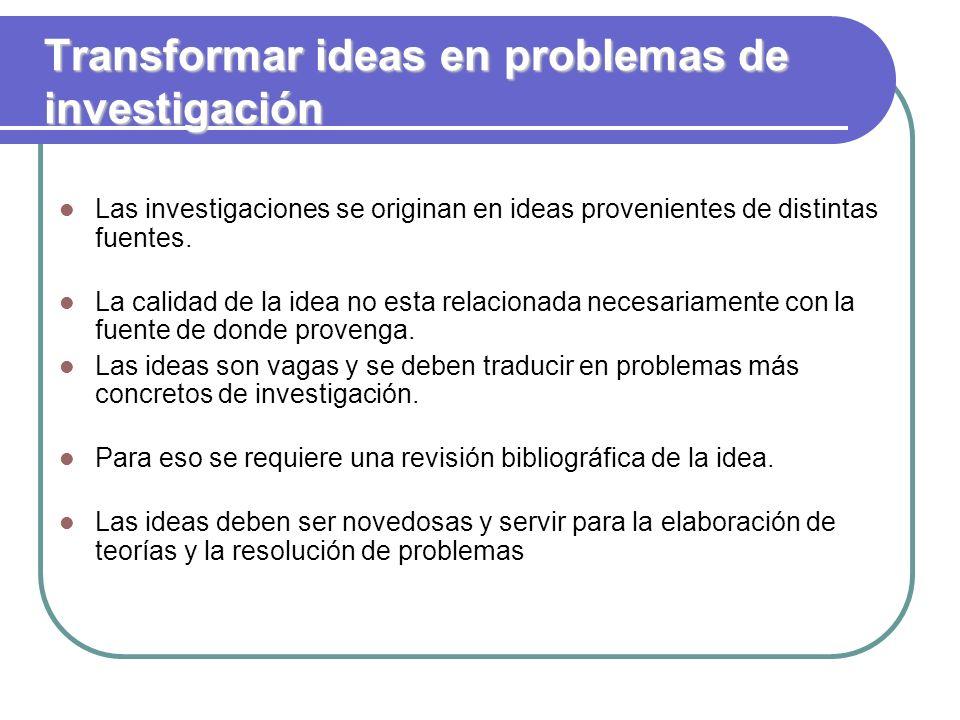Transformar ideas en problemas de investigación