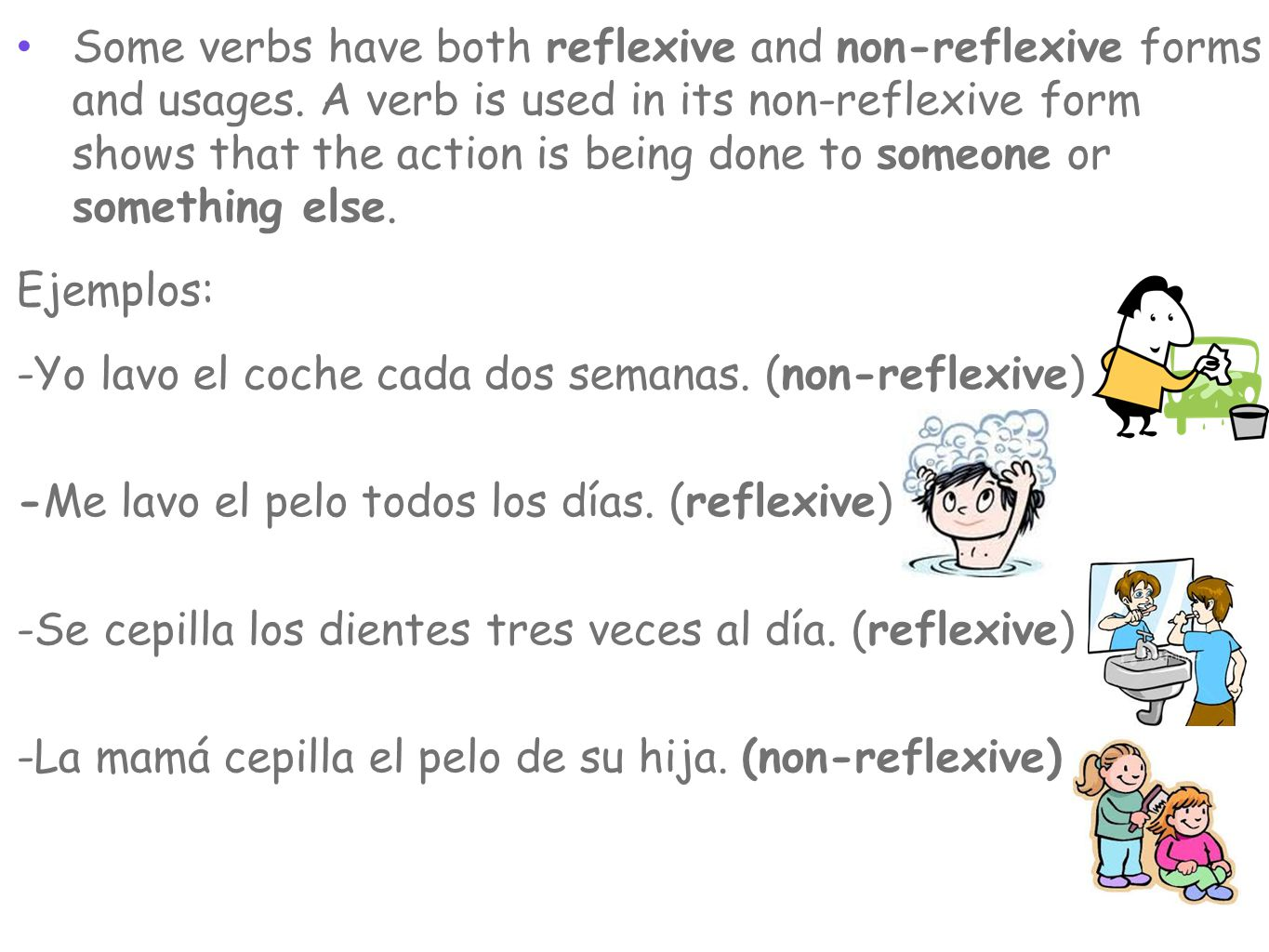 Some verbs have both reflexive and non-reflexive forms and usages