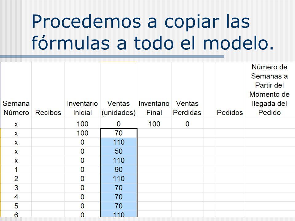 Procedemos a copiar las fórmulas a todo el modelo.