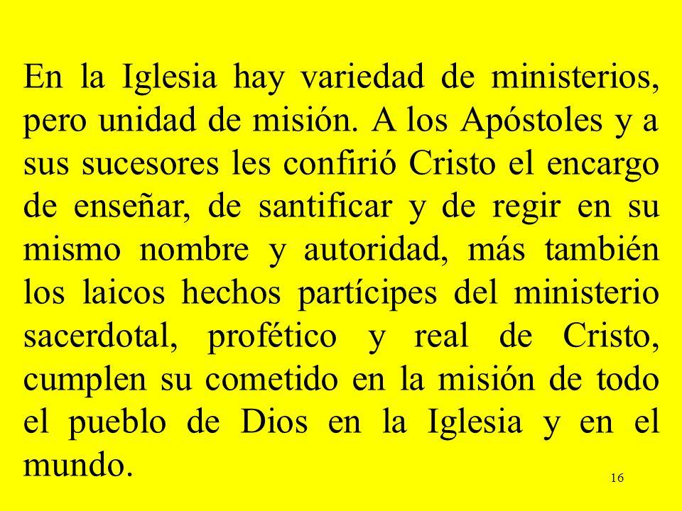 En la Iglesia hay variedad de ministerios, pero unidad de misión