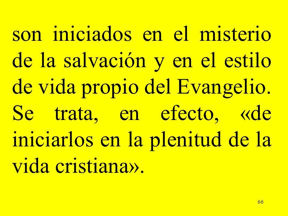 son iniciados en el misterio de la salvación y en el estilo de vida propio del Evangelio. Se trata, en efecto, «de iniciarlos en la plenitud de la vida cristiana».