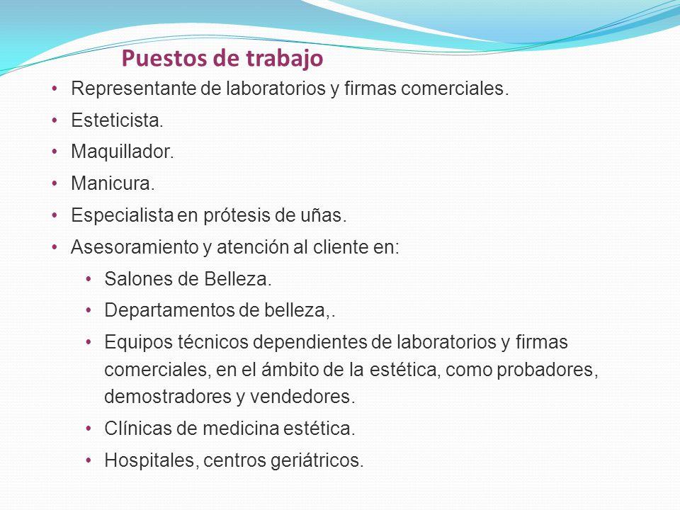 Puestos de trabajo Representante de laboratorios y firmas comerciales.