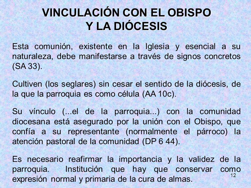 VINCULACIÓN CON EL OBISPO