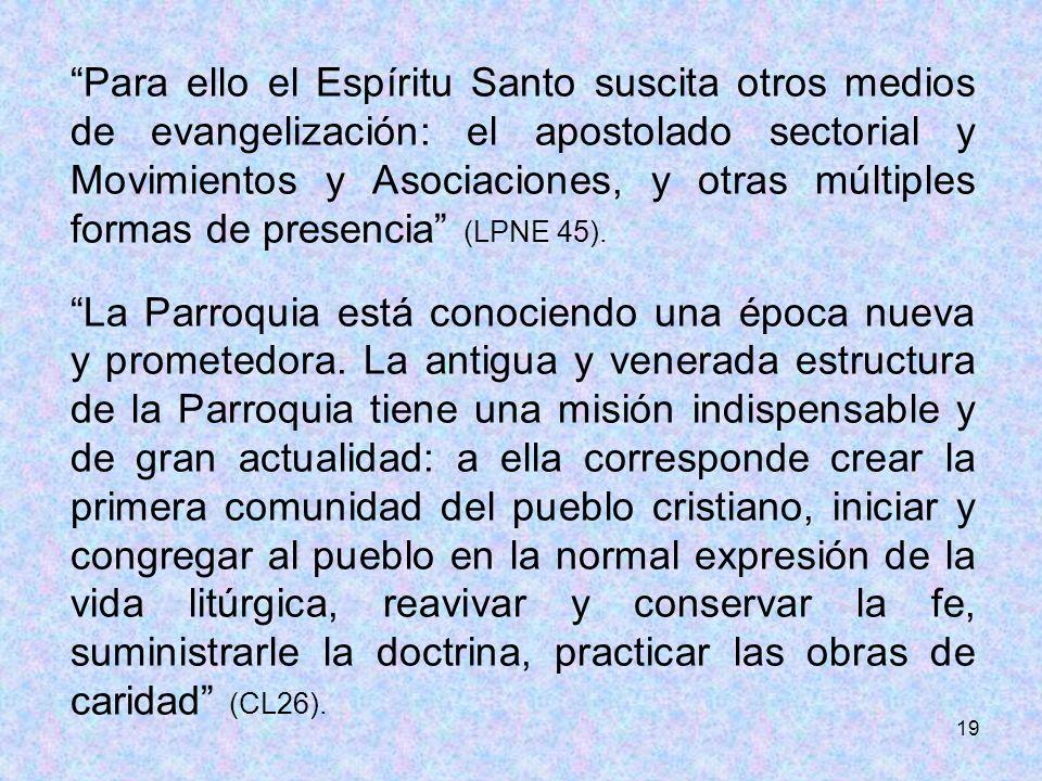 Para ello el Espíritu Santo suscita otros medios de evangelización: el apostolado sectorial y Movimientos y Asociaciones, y otras múltiples formas de presencia (LPNE 45).