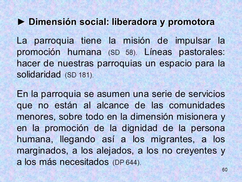 ► Dimensión social: liberadora y promotora