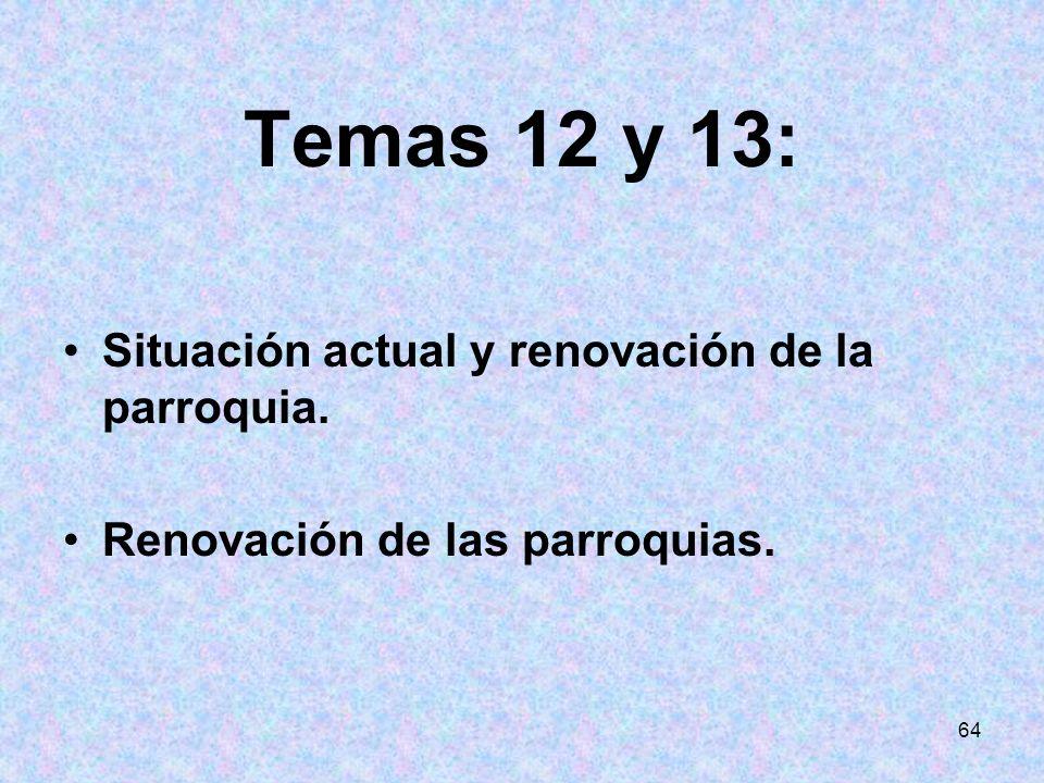 Temas 12 y 13: Situación actual y renovación de la parroquia.