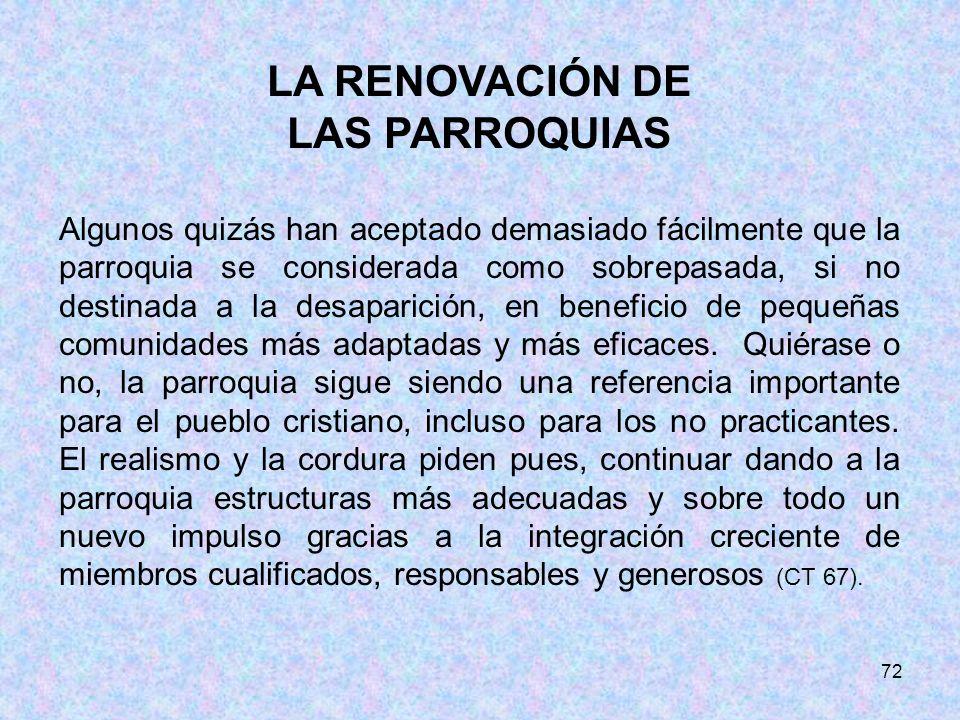 LA RENOVACIÓN DE LAS PARROQUIAS