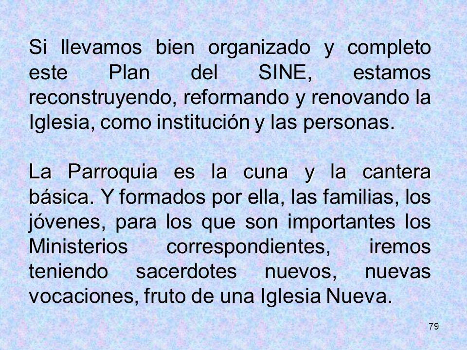 Si llevamos bien organizado y completo este Plan del SINE, estamos reconstruyendo, reformando y renovando la Iglesia, como institución y las personas.