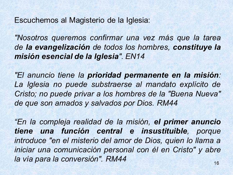 Escuchemos al Magisterio de la Iglesia: