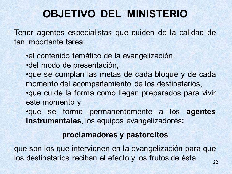 OBJETIVO DEL MINISTERIO proclamadores y pastorcitos
