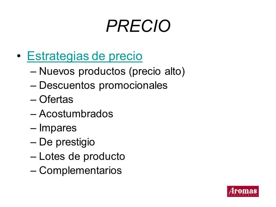 PRECIO Estrategias de precio Nuevos productos (precio alto)