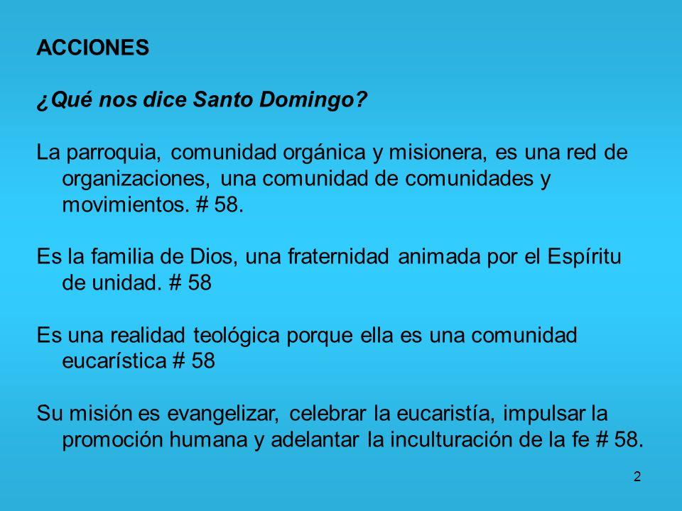 ACCIONES ¿Qué nos dice Santo Domingo